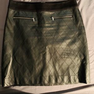 Ann Taylor Black Faux Leather Quilted Skirt